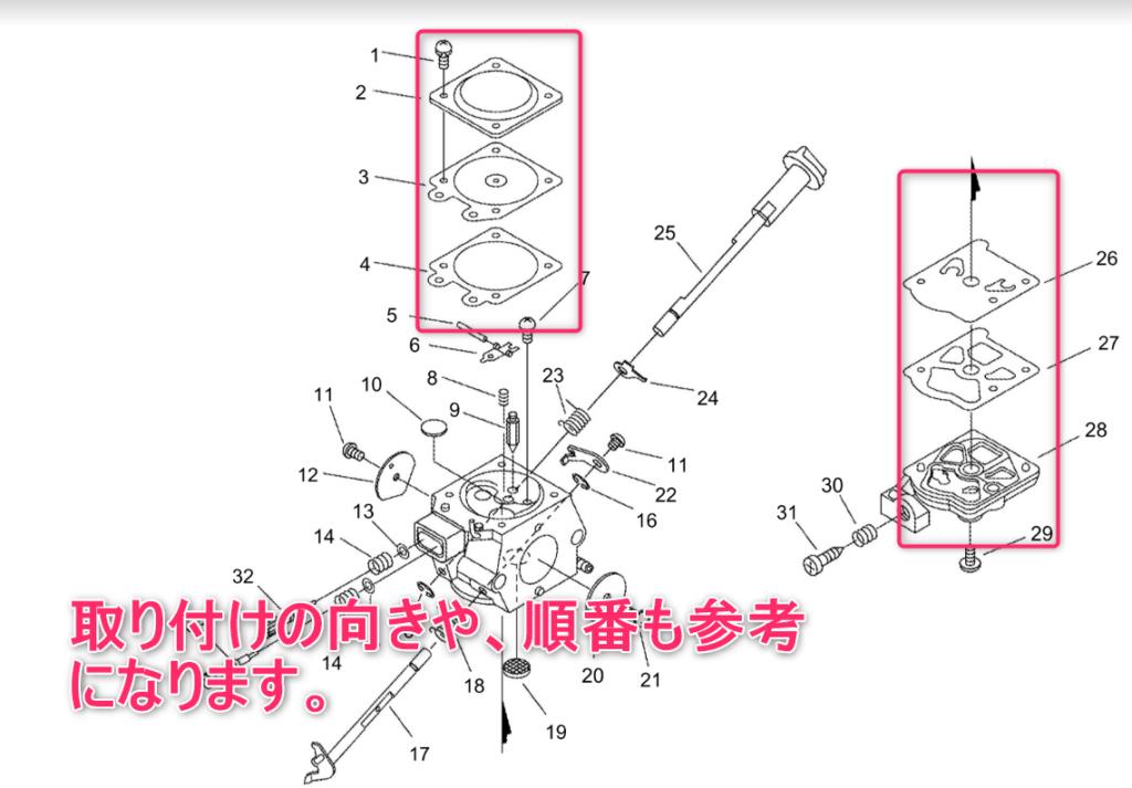 キャブレターの分解図