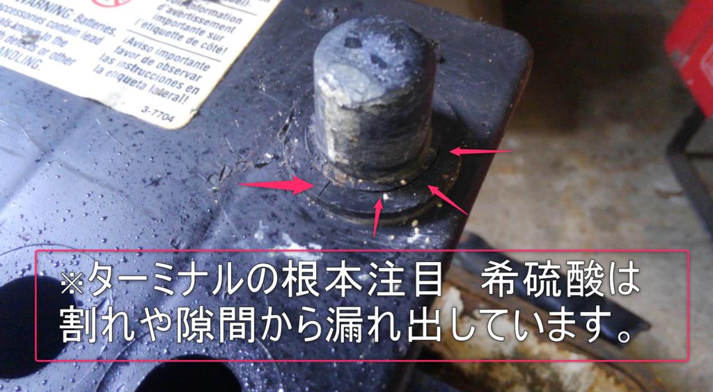 バッテリー液の洩れ